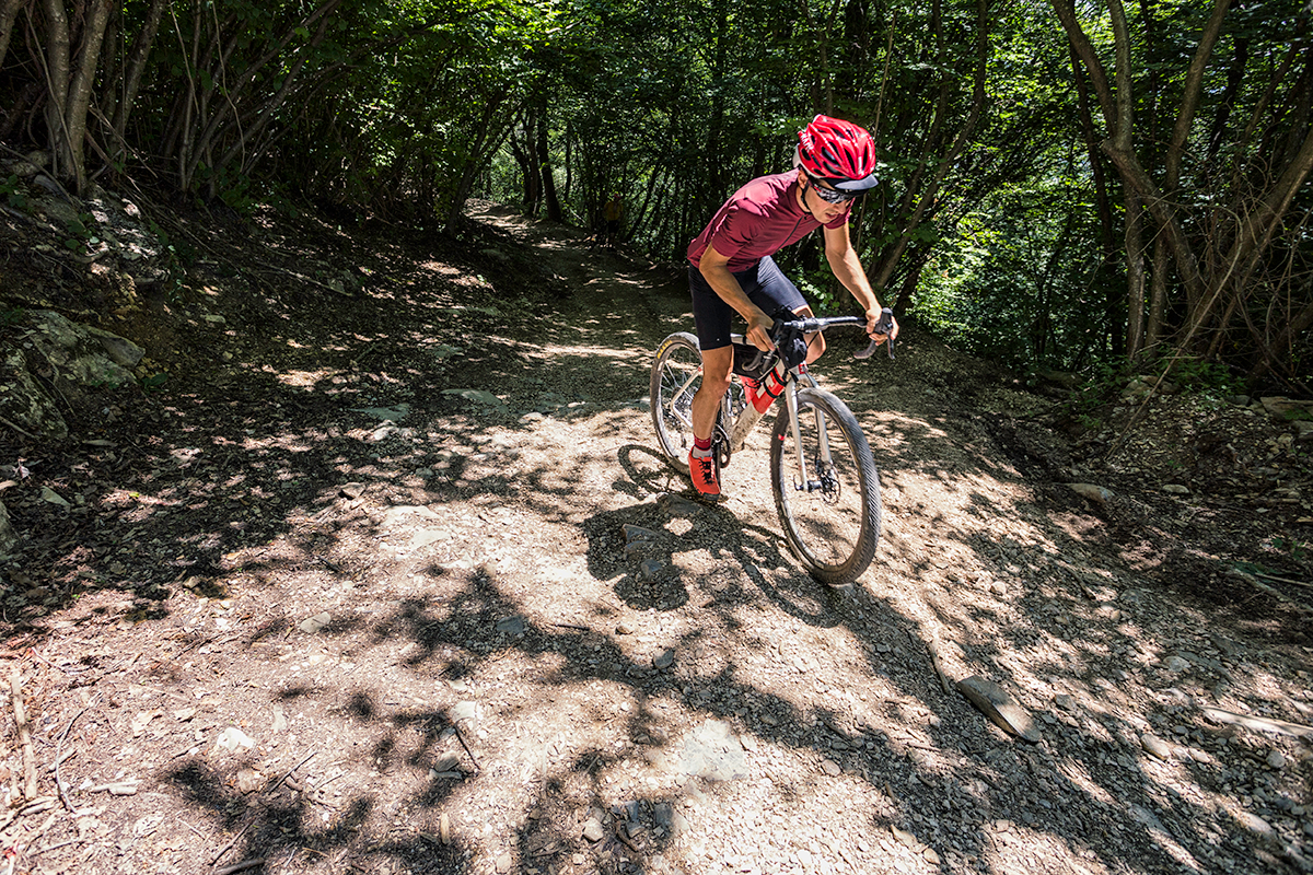 An athlete during a gravel bike race