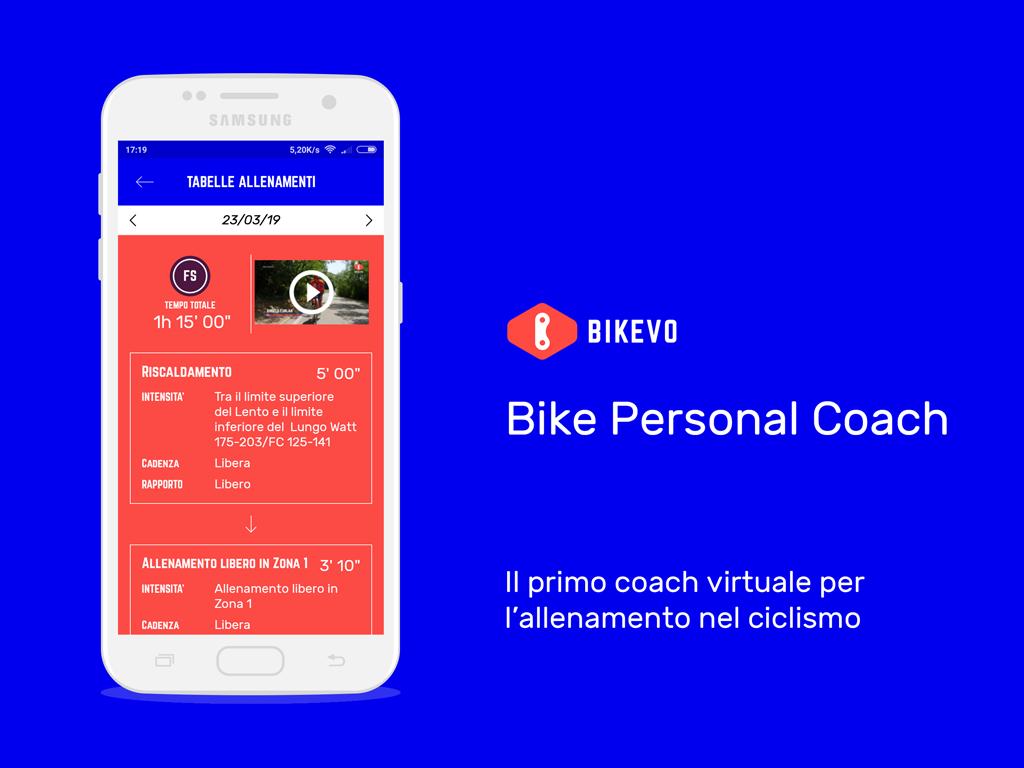 Bike Personal Coach mockup del primo coach virtuale per il ciclismo