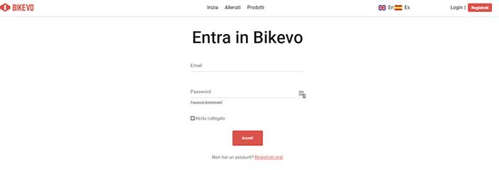Pagina login sito Bikevo