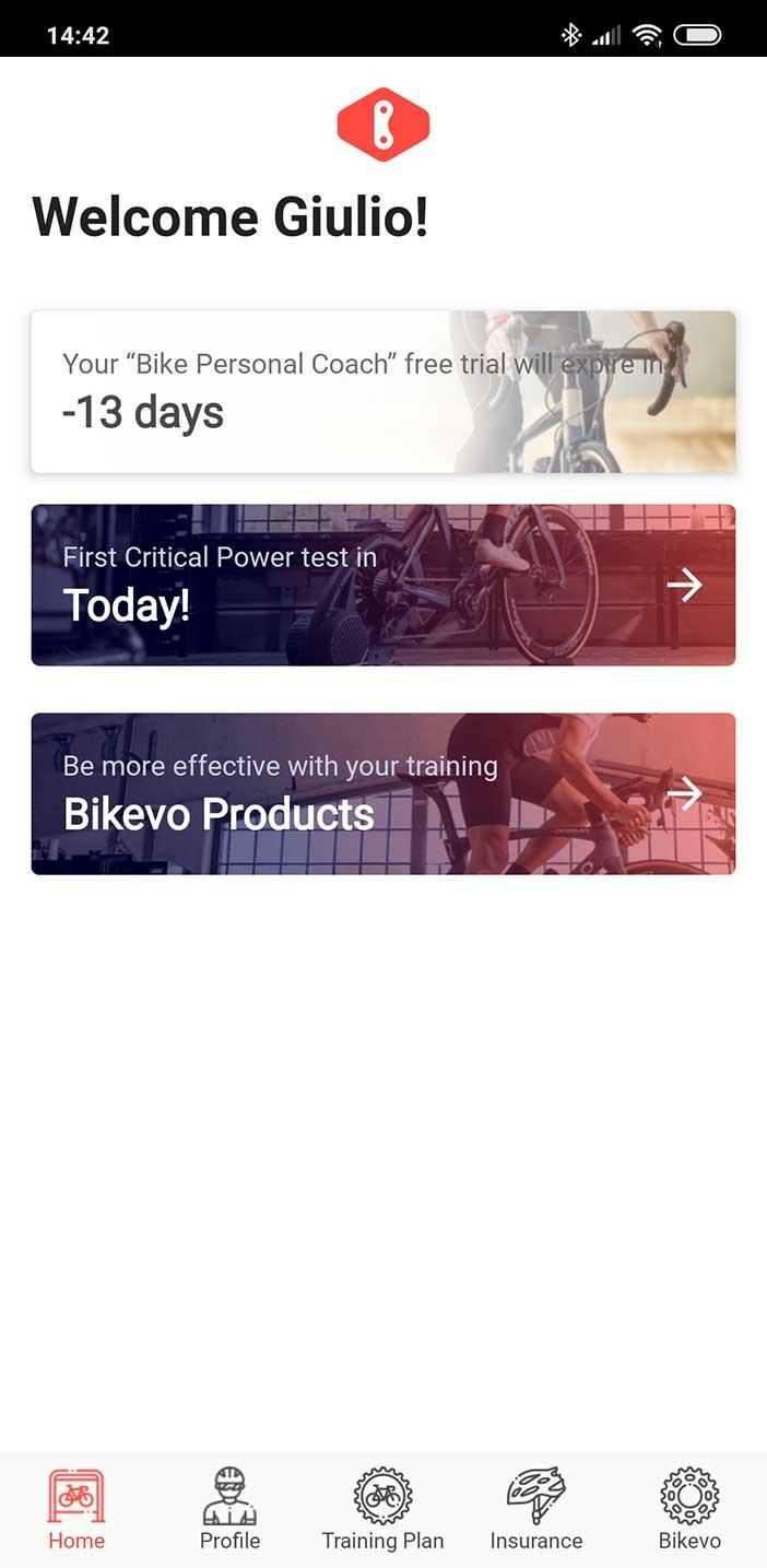 Bikevo App homepage